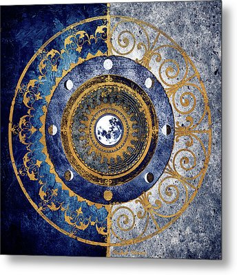 Gold And Sapphire Moon Dial I Metal Print by Michael Marcon