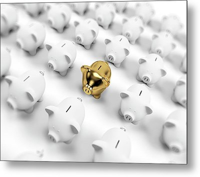 Gold And White Piggy Banks Metal Print by Sebastian Kaulitzki