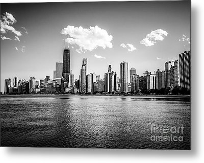Gold Coast Skyline In Chicago Black And White Picture Metal Print by Paul Velgos