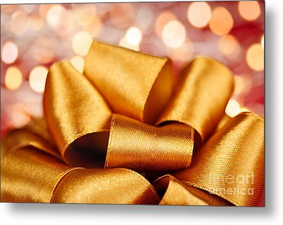 Gold Gift Bow With Festive Lights Metal Print by Elena Elisseeva