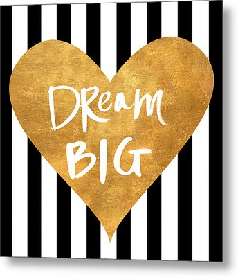 Gold Heart On Stripes I Metal Print by South Social Graphics