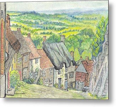 Gold Hill Shaftesbury Dorset England Metal Print by Carol Wisniewski