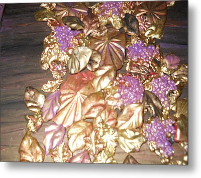 Gold Seashell Relief Metal Print by Suzanne Thomas