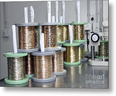 Gold Wires For Jewelry Manufacture Metal Print by RIA Novosti