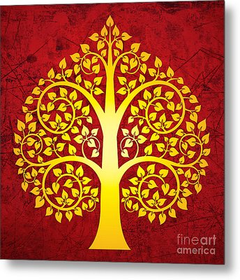 Golden Bodhi Tree No.1 Metal Print by Bobbi Freelance