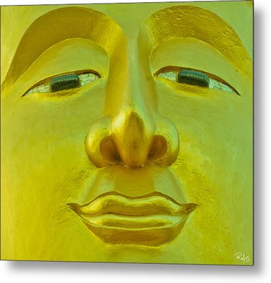 Golden Buddha Smile Metal Print by Allan Rufus