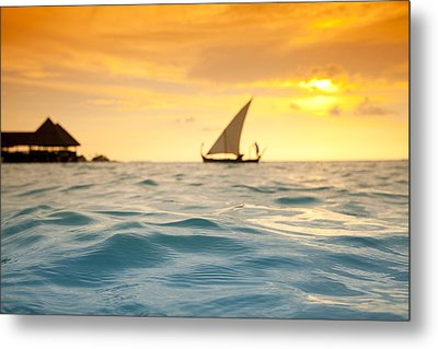 Golden Dhoni Sunset Metal Print by Sean Davey