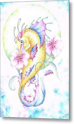 Golden Fairy Seahorse Metal Print by Heather Bradley