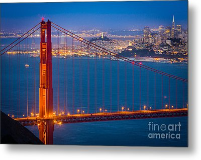 Golden Gate And San Francisco Metal Print by Inge Johnsson