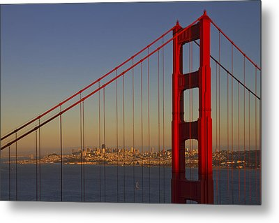 Golden Gate Bridge At Sunset Metal Print by Melanie Viola