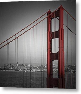 Golden Gate Bridge - Downtown View Metal Print by Melanie Viola