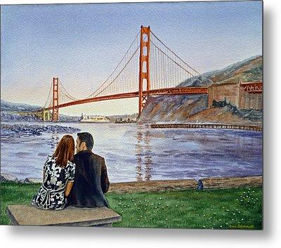 Golden Gate Bridge San Francisco - Two Love Birds Metal Print by Irina Sztukowski