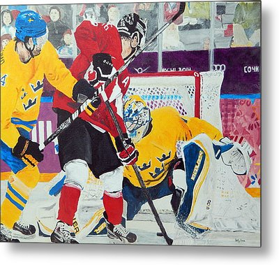 Golden Goal In Sochi Metal Print by Betty-Anne McDonald