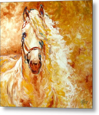 Golden Grace Equine Abstract Metal Print by Marcia Baldwin