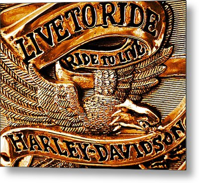 Golden Harley Davidson Logo Metal Print by Chris Berry