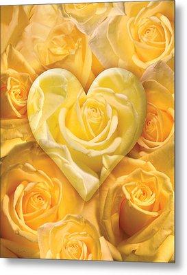 Golden Heart Of Roses Metal Print by Alixandra Mullins