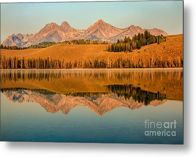 Golden Mountains  Reflection Metal Print by Robert Bales