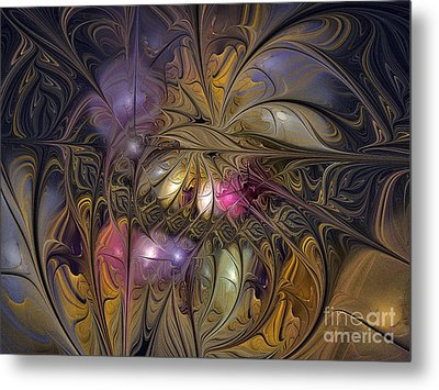 Golden Ornamentations-fractal Design Metal Print by Karin Kuhlmann