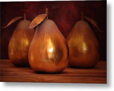 Golden Pears I Metal Print by April Moen