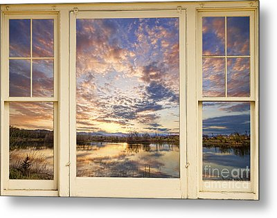 Golden Ponds Scenic Sunset Reflections 4 Yellow Window View Metal Print by James BO  Insogna