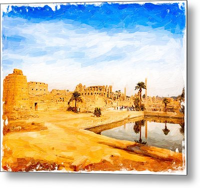 Golden Ruins Of Karnak Metal Print by Mark E Tisdale