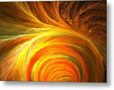 Golden Swirls Metal Print by Lourry Legarde