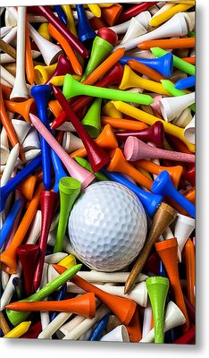 Golf Ball And Tees Metal Print by Garry Gay