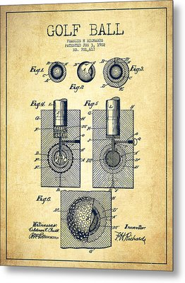Golf Ball Patent Drawing From 1902 - Vintage Metal Print by Aged Pixel
