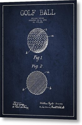 Golf Ball Patent Drawing From 1908 - Navy Blue Metal Print by Aged Pixel