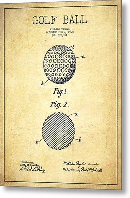 Golf Ball Patent Drawing From 1908 - Vintage Metal Print by Aged Pixel