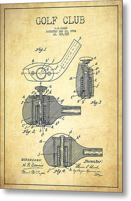 Golf Clubs Patent Drawing From 1904 - Vintage Metal Print by Aged Pixel