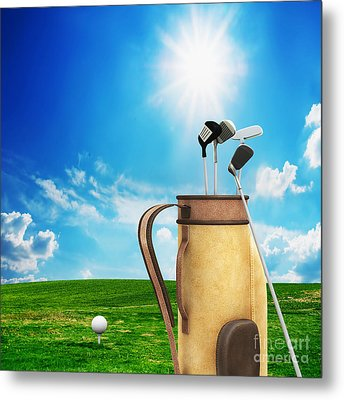 Golf Equipment And Ball On Golf Course Metal Print by Michal Bednarek