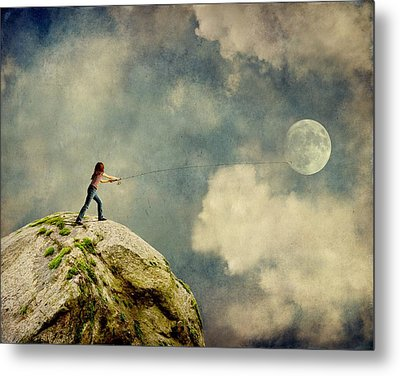 Gone Fishing Metal Print by Sonya Kanelstrand