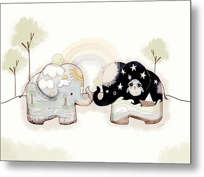 Good Karma Elephants Metal Print by Karin Taylor