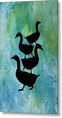 Goose Pile On Aqua Metal Print by Jenny Armitage