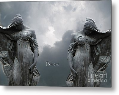 Gothic Surreal Female Figures Haunting Inspirational Spiritual Art - Believe Metal Print by Kathy Fornal