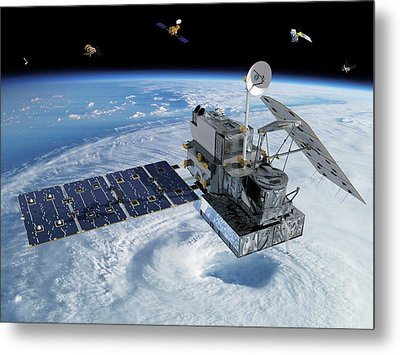 Gpm Rainfall Satellite Metal Print by Nasa/goddard/britt Griswold