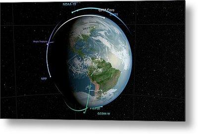 Gpm Satellite Constellation Metal Print by Nasa/goddard Space Flight Center Svs
