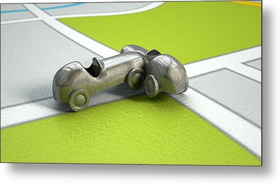 Gps Map With Toy Car Collision Metal Print by Allan Swart