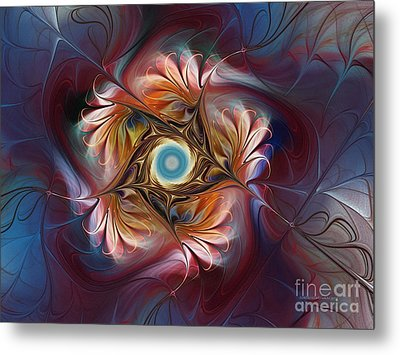Grace And Elegance-floral Fractal Design Metal Print by Karin Kuhlmann