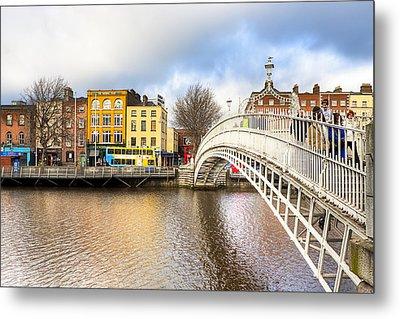 Graceful Ha'penny Bridge Over River Liffey Metal Print by Mark E Tisdale