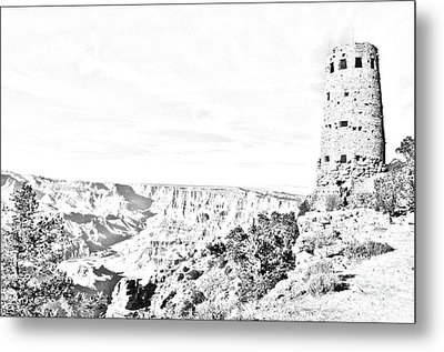 Grand Canyon National Park Mary Colter Designed Desert View Watchtower Black And White Line Art Metal Print by Shawn O'Brien