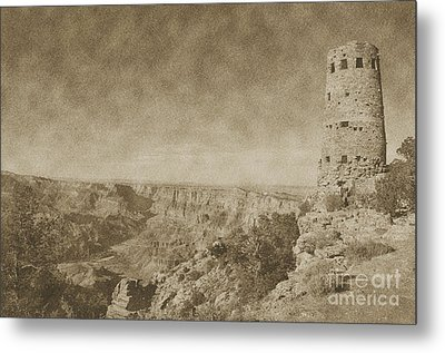 Grand Canyon National Park Mary Colter Designed Desert View Watchtower Vintage Metal Print by Shawn O'Brien