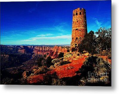 Grand Canyon National Park South Rim Mary Colter Designed Desert View Watchtower Vivid Metal Print by Shawn O'Brien