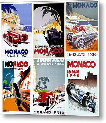 Grand Prix Of Monaco Vintage Poster Collage Metal Print by Don Struke