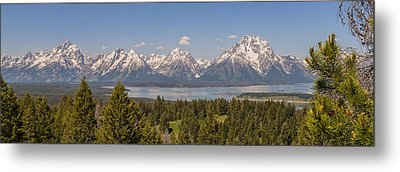 Grand Tetons Over Jackson Lake Panorama Metal Print by Brian Harig
