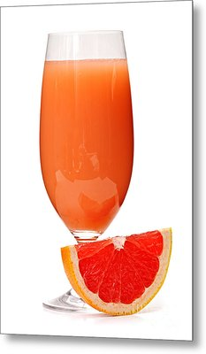 Grapefruit Juice In Glass Metal Print by Elena Elisseeva