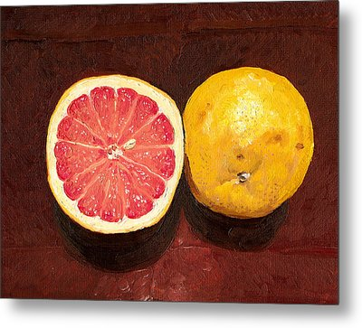 Grapefruits Oil Painting Metal Print by