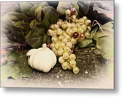 Grapes And Garlic Metal Print by Bill Cannon