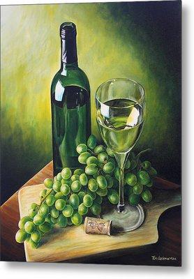 Grapes And Wine Metal Print by Kim Lockman